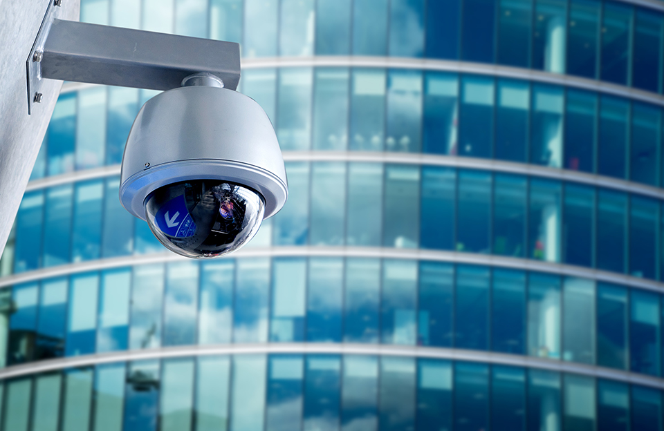 video surveillance camera outside of building