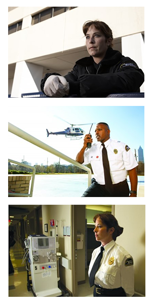 collage of security professionals patrolling hospital