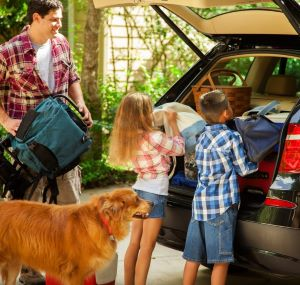Family packing car for travel