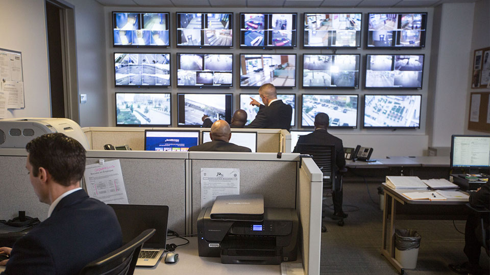 security professionals monitoring video surveillance